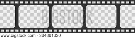 Film Strip Seamless Vector Background In Flat Style. Movie Concept On Transparent Background, Isolat