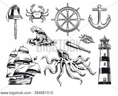 Black Maritime And Nautical Elements Illustration Set. Vintage Design With Sea Animals, Ship, Wave,
