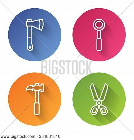 Set Line Wooden Axe, Wrench Spanner, Claw Hammer And Scissors. Color Circle Button. Vector