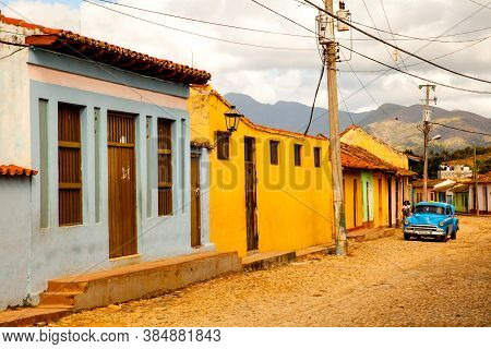 Trinidad, Cuba - December 18, 2016: Classic Car In The Street Of The Colonial Town Trinidad (unesco