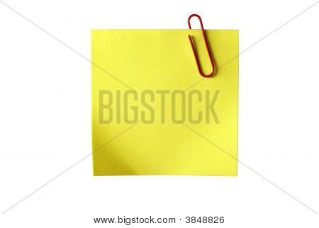 Gelbe sticky Papier mit red Clip. isolated on white Background, Clipping-Pfad enthält.