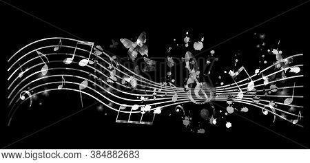 Music Promotional Poster With Music Notes Vector Illustration. Artistic Abstract Background With Mus