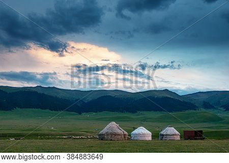 Yurts. Traditional Dwelling Of Nomadic Peoples. Traditional Pasture In The Mountains. Kazakhstan. As
