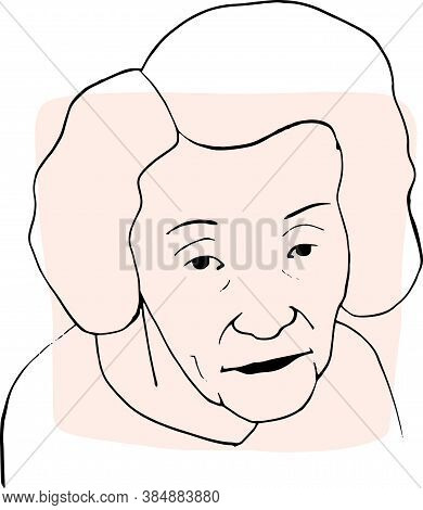 Hand-draw Outline Portrait Of Old Woman With Light Beige Sample Color. Abstract Colletion Of Differe