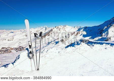 Winter Ski Resort In Alps Mountains. Ski Equipment In The Snow On The Slope. Skiing, Winter Sport. V