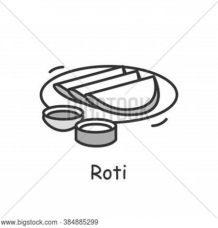 Roti Line Icon. Indian Subcontinental Cuisine. Wholemeal Flour Flatbread. Traditional Delicious Indi
