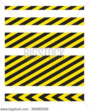 Black And Yellow Diagonal Stripe Vector Icon Collection. Seamless Caution And Warning Sign Tape Set.