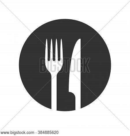 Fork And Knife Icon Logo. Simple Flat Shape Sign. Restaurant Cafe Kitchen Diner Place Menu Symbol. V