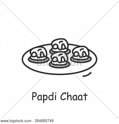 Papdi Chaat Line Icon. North Indian Cuisine. Fried Dough Wafers. Traditional Delicious Indian Dish.