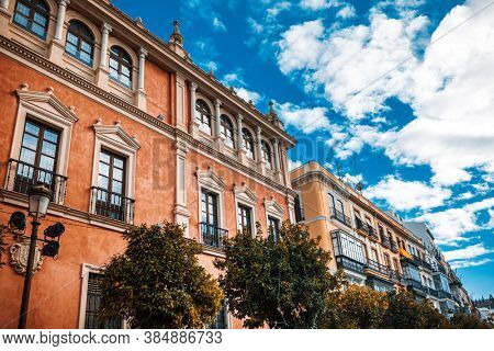 Andalusia style building in Seville city, Spain