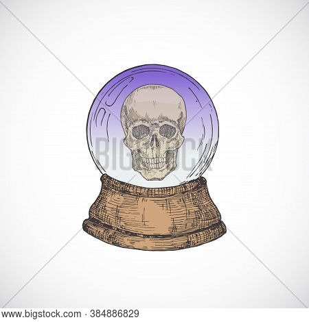 Hand Drawn Colorful Halloween Fortune Teller Cristal Prediction Ball With A Scull Inside. Abstract V