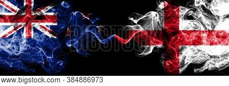 New Zealand Vs England, English Smoky Mystic Flags Placed Side By Side. Thick Colored Silky Abstract
