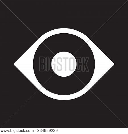 Eye Vector Icon. Optic Eyesight And Look Symbol. View Or Watch Sign. Optician Logo. Isolated On Whit