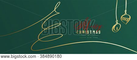 Merry Christmas And Happy New Year Greeting Card. Fancy Green Colour Background With Lettering. Mini