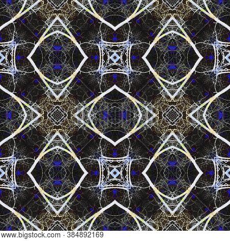 Geometric Rug Pattern. Seamless Tie Dye Illustration. Ikat Russia Print. Luminous Neon Seamless Text