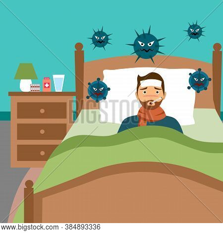 Man Suffering From Flu In Bed With Scarf Under Blanket. He Has Fever And Take Thermometer In Mouth.