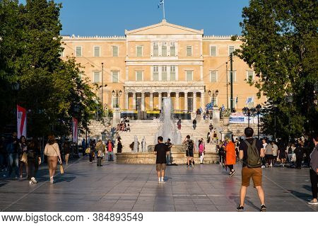 May 11, 2019 - Athens, Greece: Citizens And Tourists Roaming In Syntagma Square In Afternoon. View O