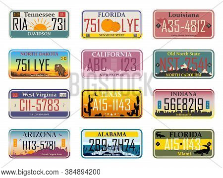 Abstract Usa States License Plates. Bundle Of Various Vehicle Registration Signs Or Automobile Ident