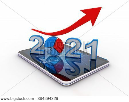 2021 And Red Arrow Up Over The Business Documents With Phone, Represents Growth In The Year 2021, Is