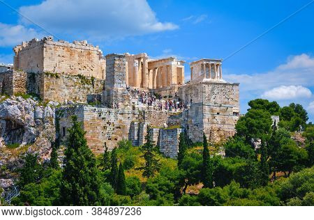 View Of Acropolis Hill From Areopagus Hill On Summer Day With Great Clouds In Blue Sky, Athens, Gree
