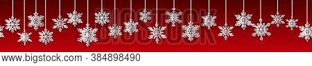 Christmas Seamless Banner With Volume Paper Snowflakes With Soft Shadows On Red Background. With Hor