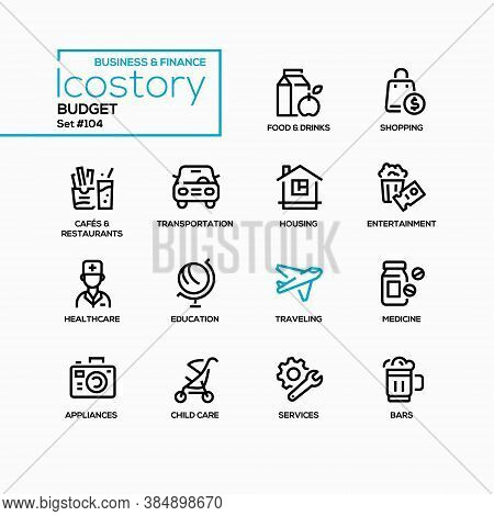 Budget Categories - Line Design Style Icons Set