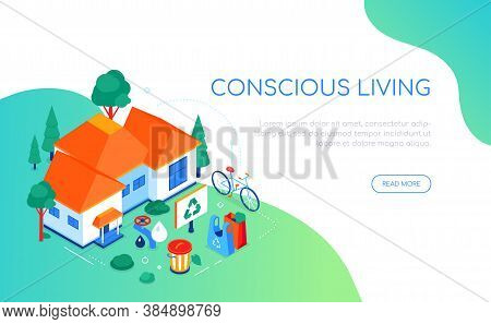 Conscious Living - Modern Colorful Isometric Web Banner