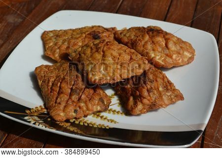 Fried Tempe Traditional Indonesian Culinary Food. Called Tempe Goreng Food That Is Simple And Often