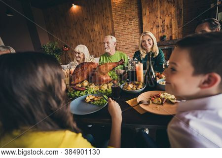 Portrait Of Nice Attractive Cheerful Cheery Positive Glad Big Full Family Gathering Enjoying Eating