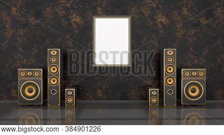Black Interior With Modern Design Black And Yellow Speaker System And Frame For Mockup, 3d Illustrat