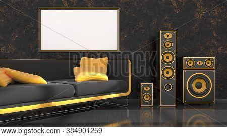 Black Interior With Modern Design Black And Yellow Sofa, Speaker System And Frame For Mockup, 3d Ill