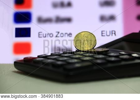 Twenty France Euro Cent On Obverse With Black Calculator On White Floor, Digital Board Of Currency E