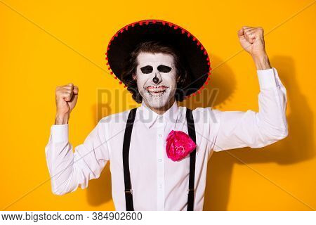 Photo Of Scary Zombie Guy Raise Hand Fists Cheerful Close Eyes Win Premium Place Cultural Festival W