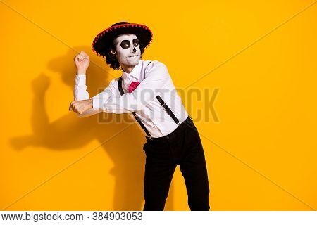 Photo Of Spooky Ghost Monster Guy Dancing Latino National Dance Pretend Hold Maracas Festival Guy We