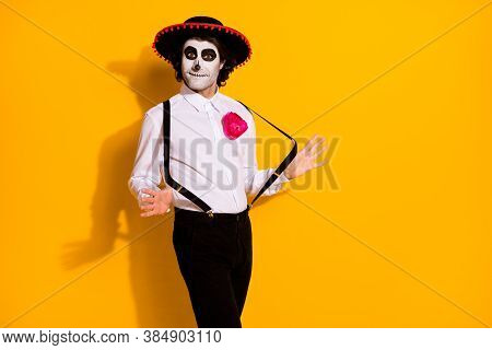Photo Of Frightening Zombie Guy Prepare Latino Dance Spanish Festival Rumba Wait Partner Wear White