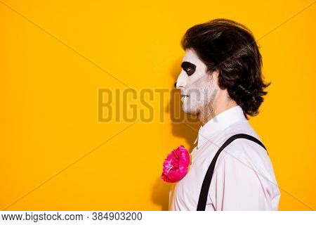 Profile Photo Of Creepy Monster Ghost Guy Look Empty Space Waiting Funeral Ceremony Graveyard Wear W
