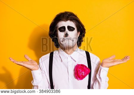 Photo Of Creepy Scary Sad Undead Creature Bristled Guy Raise Hands Cry Lose Soul Gambling Make Deal