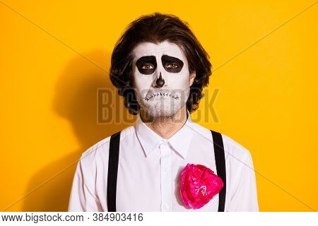 Photo Of Spooky Sad Ghost Undead Bristled Guy Crying Friend Dont Invite Costume Zombie Party Gloomy
