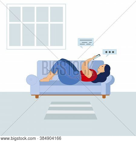 An Illustration Of A Woman Laying On A Blue Sofa With Her Smartphone. Blue Window In The Background.