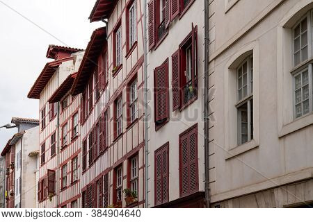 Classical Bask House In French City Street In Basque Country In France Southwest