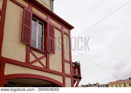 Typical Street Basque House Detail In Bask French Country In France