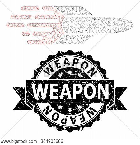 Weapon Corroded Stamp Seal And Vector Missile Mesh Model. Black Stamp Includes Weapon Title Inside R