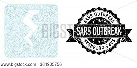 Sars Outbreak Scratched Seal Imitation And Vector Thunder Crack Mesh Model. Black Stamp Contains Sar
