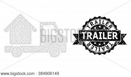 Trailer Textured Seal Imitation And Vector House Trailer Mesh Structure. Black Stamp Seal Has Traile