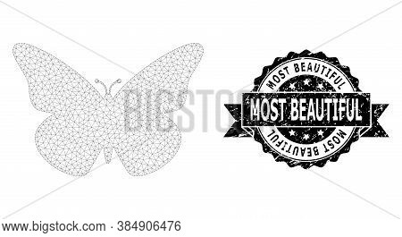 Most Beautiful Corroded Stamp Seal And Vector Butterfly Mesh Model. Black Stamp Seal Has Most Beauti