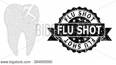 Flu Shot Corroded Stamp Seal And Vector Tooth Fracture Mesh Structure. Black Stamp Seal Includes Flu