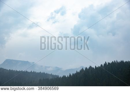 Forests In Fog After Rain, Atmospheric Photo Of Nature In Montenegro
