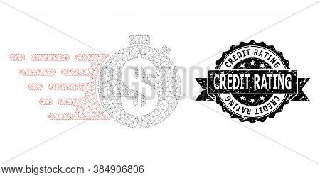 Credit Rating Scratched Seal Imitation And Vector Credit Meter Mesh Structure. Black Seal Has Credit