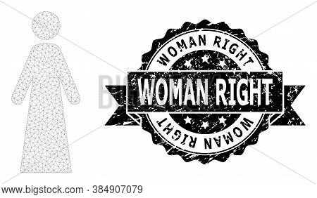 Woman Right Dirty Stamp Seal And Vector Woman Mesh Structure. Black Stamp Seal Includes Woman Right
