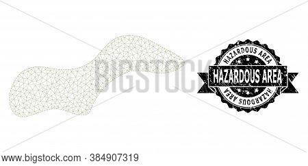 Hazardous Area Scratched Stamp Seal And Vector Spot Mesh Model. Black Stamp Seal Includes Hazardous